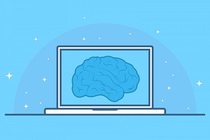 Eine Darstellung eines Gehirns auf dem Bildschirm eines Laptops.